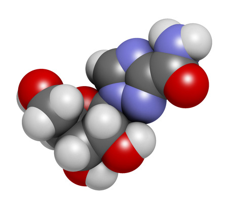 nucleoside: Ribavirin antiviral drug molecule. Used in treatment of hepatitis C virus infections and of viral hemorrhagic fevers. Atoms are represented as spheres with conventional color coding: hydrogen (white), carbon (grey), oxygen (red), nitrogen (blue). Stock Photo