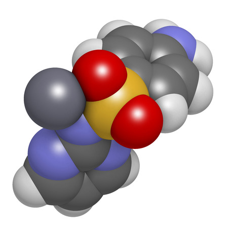 topical: Silver sulfadiazine topical antibacterial drug molecule. Used in treatment of wounds and burns. Atoms are represented as spheres with conventional color coding: hydrogen (white), carbon (grey), oxygen (red), nitrogen (blue), sulfur (yellow), silver (blue-