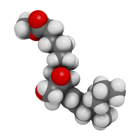 ulceration: Misoprostol abortion inducing drug molecule. Prostaglandin E1 (PGE1) analogue also used to treat missed miscarriage, induce labor, etc. Atoms are represented as spheres with conventional color coding: hydrogen (white), carbon (grey), oxygen (red). Stock Photo