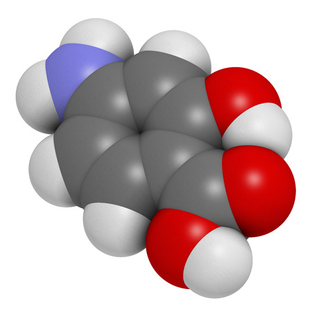 Para-aminosalicylic acid drug molecule. Used in treatment of tuberculosis and inflammatory bowel disease (ulcerative colitis, Crohn's disease). Atoms are represented as spheres with conventional color coding: hydrogen (white), carbon (grey), oxygen (red), Stock Photo - 26796018