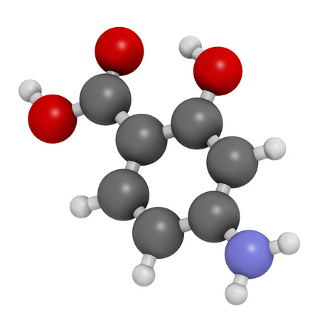 Para-aminosalicylic acid drug molecule. Used in treatment of tuberculosis and inflammatory bowel disease (ulcerative colitis, Crohn's disease). Atoms are represented as spheres with conventional color coding: hydrogen (white), carbon (grey), oxygen (red), Stock Photo - 26796015