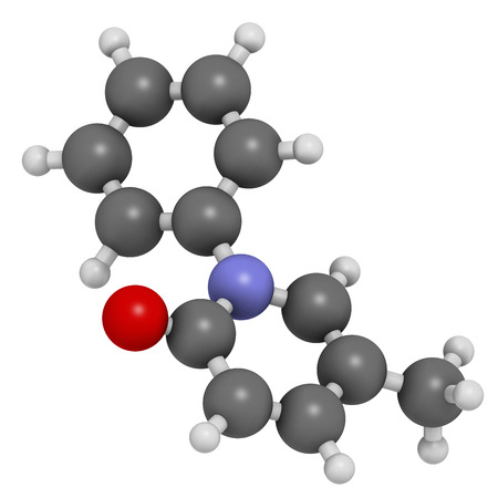 Pirfenidone idiopathic pulmonary fibrosis (IPF) drug molecule. IPF is a rare lung disease. Atoms are represented as spheres with conventional color coding: hydrogen (white), carbon (grey), oxygen (red), nitrogen (blue).