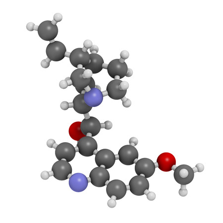 quinine: Quinine malaria drug molecule. Isolated from cinchona tree bark. Atoms are represented as spheres with conventional color coding: hydrogen (white), carbon (grey), oxygen (red), nitrogen (blue).