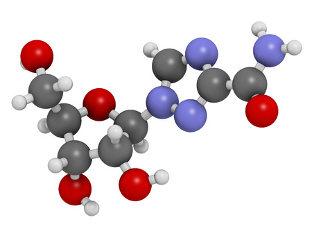 guanosine: Ribavirin antiviral drug molecule. Used in treatment of hepatitis C virus infections and of viral hemorrhagic fevers. Atoms are represented as spheres with conventional color coding: hydrogen (white), carbon (grey), oxygen (red), nitrogen (blue). Stock Photo