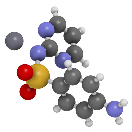 argentum: Silver sulfadiazine topical antibacterial drug molecule. Used in treatment of wounds and burns. Atoms are represented as spheres with conventional color coding: hydrogen (white), carbon (grey), oxygen (red), nitrogen (blue), sulfur (yellow), silver (blue-