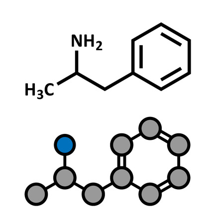 amphetamine: Amfetamine (amphetamine, speed) stimulant drug molecule. Stylized 2D rendering and conventional skeletal formula. Illustration