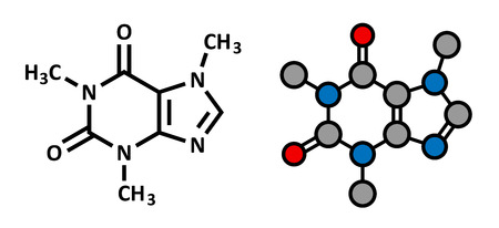 caffeine: Caffeine stimulant molecule. Present in coffee, tea and many soft and energy drinks. Stylized 2D rendering and conventional skeletal formula.