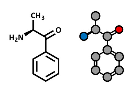 Cathinone khat stimulant molecule. Present in Catha edulis (khat). Stylized 2D rendering and conventional skeletal formula.