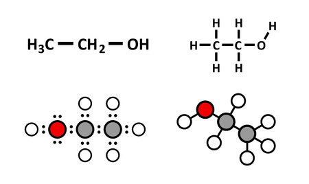 formulae: Alcohol (ethanol, ethyl alcohol) molecule, chemical structure. Stylized 2D renderings and conventional skeletal formulae. Illustration