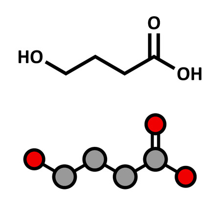 Gamma-hydroxybutyric acid (GHB, oxybate, liquid ecstasy) molecule. Stylized 2D rendering and conventional skeletal formula. Illustration