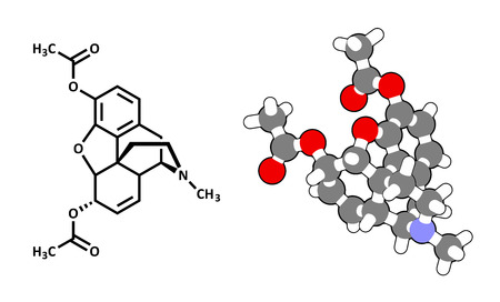 Heroin (diacetylmorphine, morphine diacetate, diamorphine) opioid drug molecule. Cartoon style model and conventional skeletal formula. Ilustração