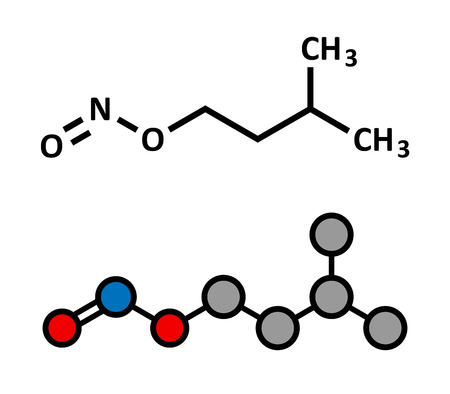 antidote: Isoamyl nitrite popper drug molecule. Also used as antidote to cyanide poisoning. Stylized 2D rendering and conventional skeletal formula. Illustration