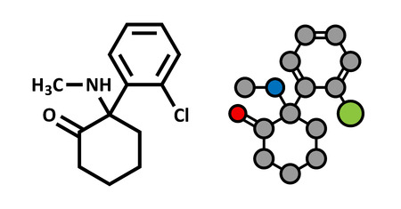 atomic: Ketamine anesthetic drug molecule. Used both medically and recreationally. Stylized 2D rendering and conventional skeletal formula. Illustration