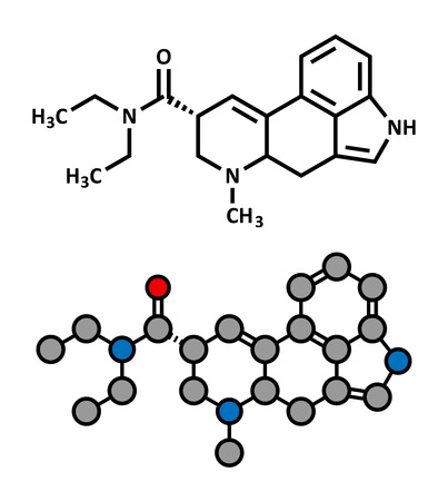 LSD (lysergic acid diethylamide) psychedelic drug molecule. Stylized 2D rendering and conventional skeletal formula.