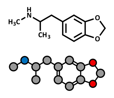 hallucination: MDMA (XTC, E, ecstasy) party drug molecule. Full chemical name is 3,4-methylenedioxymethamphetamine. Stylized 2D rendering and conventional skeletal formula.