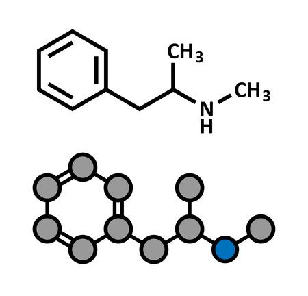 Methamphetamine (crystal meth, methamfetamine) stimulant drug molecule. Stylized 2D rendering and conventional skeletal formula. Vector