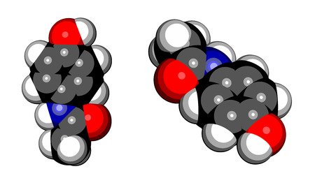 cannabinoid: Paracetamol (acetaminophen) analgesic drug molecule. Used to reduce fever and relieve pain. Cartoon style space filling model. Illustration