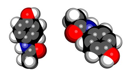 paracetamol: Paracetamol (acetaminophen) analgesic drug molecule. Used to reduce fever and relieve pain. Cartoon style space filling model. Illustration