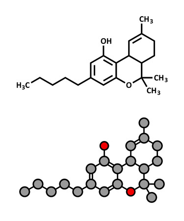 thc: THC (delta-9-tetrahydrocannabinol, dronabinol) cannabis drug molecule. Stylized 2D rendering and conventional skeletal formula.