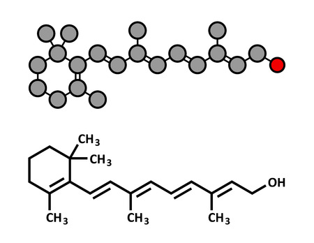 deficiency: Vitamin A (retinol) molecule. Stylized 2D rendering and conventional skeletal formula.