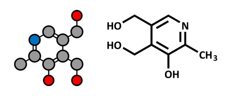 supplementation: Vitamin B6 (pyridoxine) molecule. Stylized 2D rendering and conventional skeletal formula.