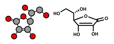 ascorbic: Vitamina C (�cido asc�rbico, ascorbato) mol�cula. Estilizada renderizado 2D y f�rmula esqueletal convencional.