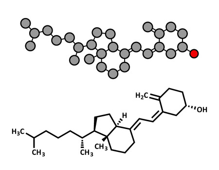 supplementation: Vitamin D (D3, cholecalciferol, toxiferol) molecule. Stylized 2D rendering and conventional skeletal formula. Illustration