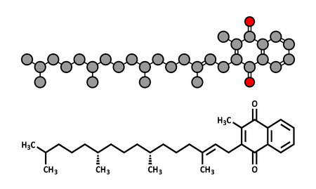 supplementation: Vitamin K (K1, phylloquinone, phytomenadione) molecule. Stylized 2D rendering and conventional skeletal formula.