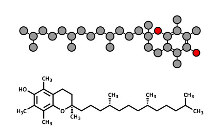 supplementation: Vitamin E (alpha tocopherol) molecule. Stylized 2D rendering and conventional skeletal formula.