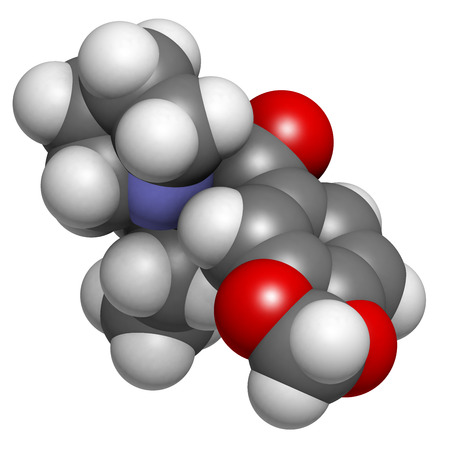 Methylenedioxypyrovalerone (MDPV, Bath salts) drug molecule. Atoms are represented as spheres with conventional color coding: hydrogen (white), carbon (grey), oxygen (red), nitrogen (blue). Stock Photo