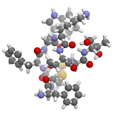 secretion: Octreotide drug molecule. Mimic of somatostatin. Inhibits secretion of a number of hormones, including growth hormone, glucagon and insulin. Atoms are represented as spheres with conventional color coding: hydrogen (white), carbon (grey), oxygen (red), ni