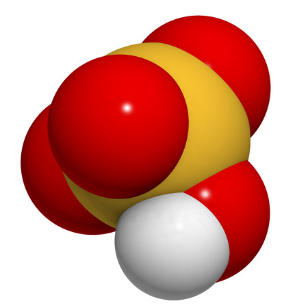 sulphuric acid: Sulfuric acid (H2SO4, oil of vitriol) molecule, chemical structure. Highly corrosive strong mineral acid. Used as an electrolyte in lead-acid car batteries. Atoms are represented as spheres with conventional color coding: hydrogen (white), oxygen (red), s