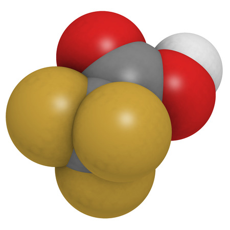 corrosive: Trifluoroacetic acid (TFA) molecule, chemical structure. Highly corrosive liquid acid that is often used as a solvent or reagent in chemistry. Atoms are represented as spheres with conventional color coding: hydrogen (white), carbon (grey), oxygen (red),  Stock Photo