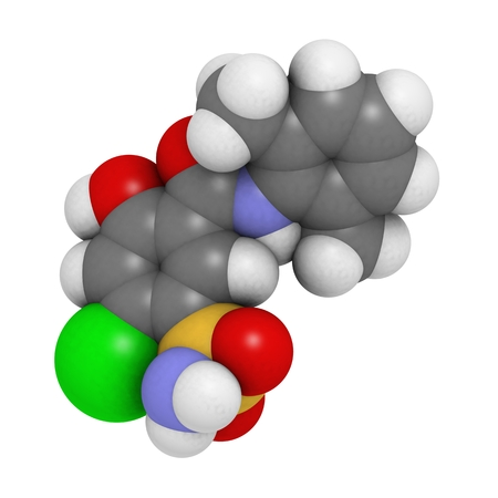 diuretic: Xipamide diuretic drug molecule. Used in the treatment of hypertension (high blood pressure). Atoms are represented as spheres with conventional color coding: hydrogen (white), carbon (grey), oxygen (red), nitrogen (blue), sulfur (yellow), chlorine (green