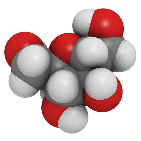 sucrose: Fructose (fruit sugar) molecule. Atoms are represented as spheres with conventional color coding: hydrogen (white), carbon (grey), oxygen (red).