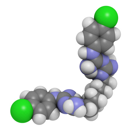 bactericidal: Chlorhexidine antiseptic molecule. Used in mouthwash, antiseptic skin scrub, etc. Atoms are represented as spheres with conventional color coding: hydrogen (white), carbon (grey), chlorine (green), nitrogen (blue). Stock Photo