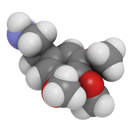 mescaline: Mescaline psychedelic drug molecule. Present in peyote cactus. Atoms are represented as spheres with conventional color coding: hydrogen (white), carbon (grey), oxygen (red), nitrogen (blue).