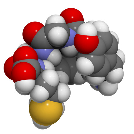 opioid: Met-enkephalin molecule. Enkephalins are small peptides that play a role in pain sensation and that are natural, endogenous ligands of opioid receptors. Atoms are represented as spheres with conventional color coding: hydrogen (white), carbon (grey), oxyg Stock Photo