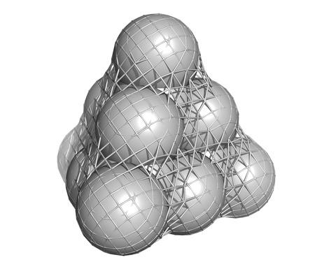 Pure silicon (Si, silicium), crystal structure. Main building material of computer chips. Atoms are represented as spheres + mesh surface.