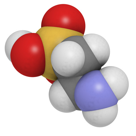 Taurine molecule. Common ingredient of energy drinks. Atoms are represented as spheres with conventional color coding: hydrogen (white), carbon (grey), oxygen (red), nitrogen (blue), sulfur (yellow). Stock Photo