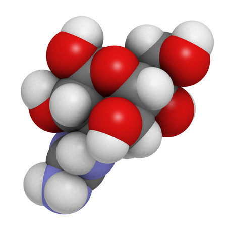 Tetrodotoxin (TTX) pufferfish neurotoxin molecule. Atoms are represented as spheres with conventional color coding: hydrogen (white), carbon (grey), oxygen (red), nitrogen (blue). Stock Photo - 27686115