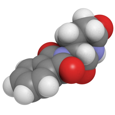 myeloma: Thalidomide teratogenic drug molecule. Atoms are represented as spheres with conventional color coding: hydrogen (white), carbon (grey), oxygen (red), nitrogen (blue).