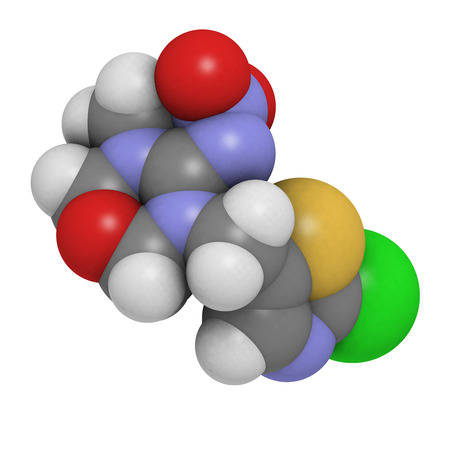 Thiamethoxam neonicotinoid insecticide molecule. Atoms are represented as spheres with conventional color coding: hydrogen (white), carbon (grey), oxygen (red), nitrogen (blue), sulfur (yellow), chlorine (green). photo