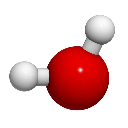 Water molecule, chemical structure. Atoms are represented as spheres with conventional color coding: hydrogen (white), oxygen (red). 写真素材