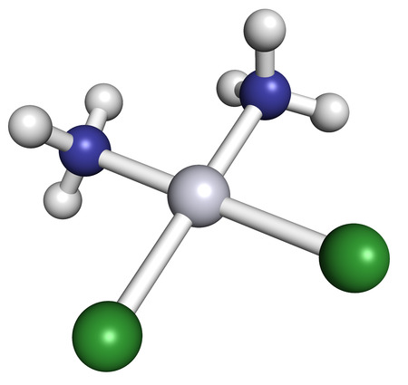 chemotherapy drug: Cisplatin cancer chemotherapy drug, chemical structure. Atoms are represented as spheres with conventional color coding: hydrogen (white), nitrogen (blue), chlorine (green), platinum (gray).