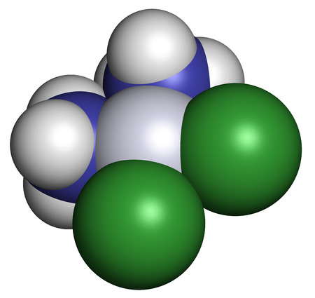 Cisplatin cancer chemotherapy drug, chemical structure. Atoms are represented as spheres with conventional color coding: hydrogen (white), nitrogen (blue), chlorine (green), platinum (gray).