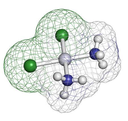 Cisplatin Chemotherapie Drogen, chemische Struktur. Wasserstoff (weiß), Stickstoff (blau), Chlor (grün), Platin (grau): Atome sind als Kugeln mit herkömmlichen Farbkodierung dargestellt. Standard-Bild - 28862421