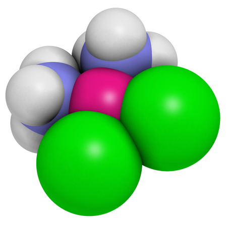 Cisplatin cancer chemotherapy drug, chemical structure. Atoms are represented as spheres with conventional color coding: hydrogen (white), nitrogen (blue), chlorine (green), platinum (pink). Stock Photo