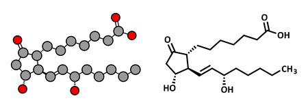 Alprostadil (prostaglandin E1) erectile dysfunction drug, chemical structure. Conventional skeletal formula and stylized representation, showing atoms (except hydrogen) as color coded circles. Vector