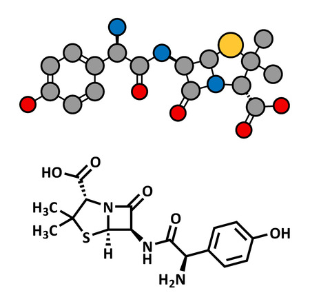 Amoxicillin beta-lactam antibiotic drug, chemical structure. Conventional skeletal formula and stylized representation, showing atoms (except hydrogen) as color coded circles. Illusztráció